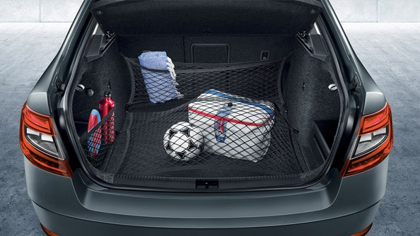 Stylish and Practical The practical luggage compartment with its regular shape and numerous attachment points and hooks offers an unbeatable 590 litres. The rear-seat backrests can be unlocked from the luggage compartment to increase the boot volume to 1,580 litres.