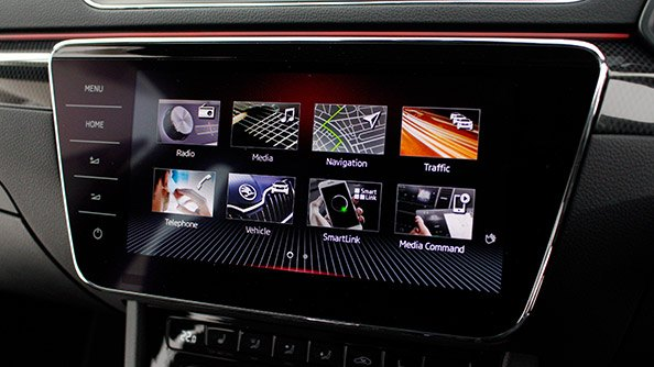 Superb infotainment With an Infotainment system that features intuitive Smartphone connection, 'COLUMBUS' Navigation, voice control, a 'CANTON SOUND SYSTEM' with 10 loudspeakers, subwoofer and digital equalizer, plus a Performance Monitor that displays current oil temperature, g-force acceleration, coolant temperature. It's no wonder we had to make the ŠKODA Superb SportLine's crystal-clear colour touchscreen 9-inches.