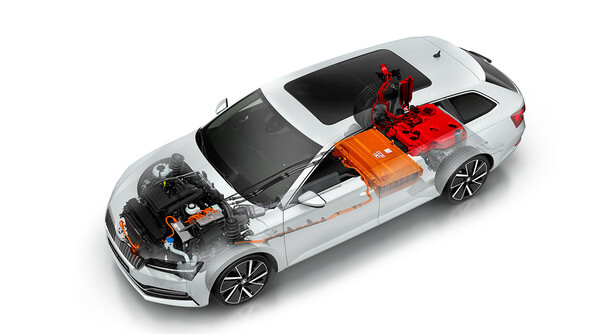 Plug-in Hybrid Powertrain The ŠKODA SUPERB iV's bonnet conceals an advanced plug-in hybrid powertrain combining the best of electric and conventional cars for an eco-friendly yet dynamic drive. The drive system combining a petrol engine and electric motor delivers maximum system power of 160kW and torque of up to 400Nm. All of this with CO2 emissions of less than 40g/km.